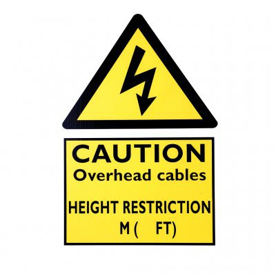 Caution Overhead Cables Height Restrictions Sign