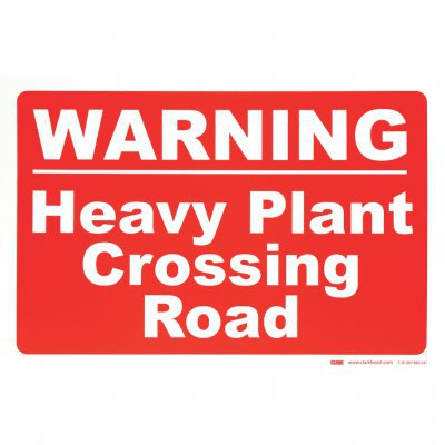 Warning Heavy Plant Crossing Road Sign